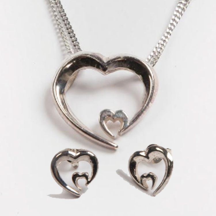 Heart Pendant and Earring Set Silver